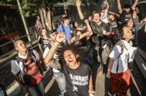 Foto da ação em São Paulo. Por Mídia Ninja
